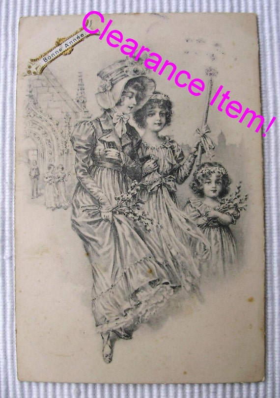 Antique French Christmas / New Year Postcard - Three Young Girls (Clearance Item)