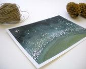 Galaxy No.2 - Night Sky - Bold Jade - Planetary Atmosphere - 5x7 inch Mini Fine Art Print - FREE SHIPPING