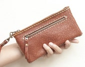 Sale, Zipper Leather Pouch with Wristlet Strap in Brown