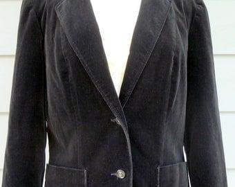 80s vintage black velvet boxy womens blazer