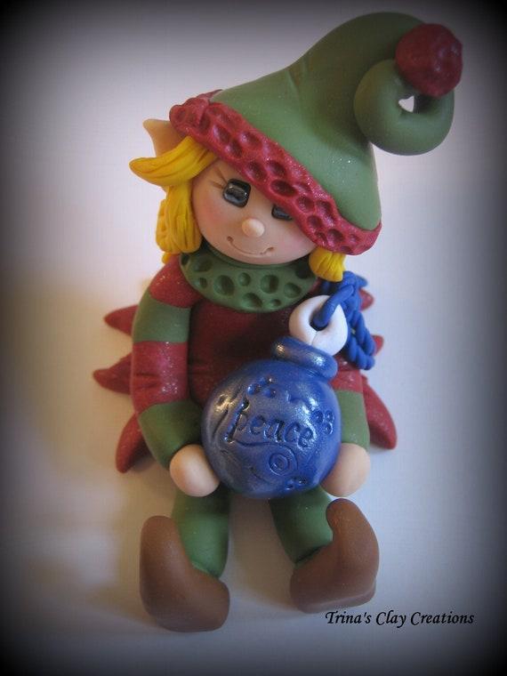 Christmas Ornament, Polymer Clay, Elf Wishing Peace