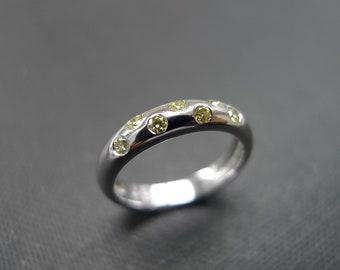 Yellow Diamond Wedding Ring in Platinum, Yellow Diamond Engagement Ring, Diamond Wedding Band, Diamond Ring, Wedding Gift, Personalized Gift