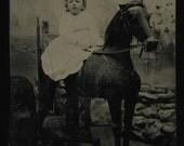 Unusual Tintype of Little Girl on Large Stuffed Prop Horse
