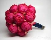 Fuchsia Peony Wedding Bouquet - Fuchsia Pink Peony Bouquet