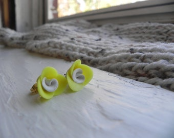 Bight Yellow and White Rose Earrings