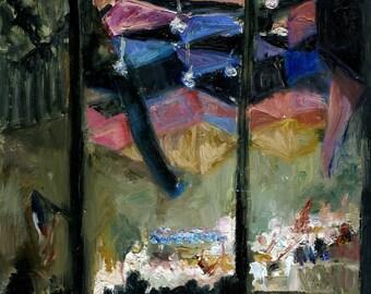 Rafael Frühbeck de Burgos at Tanglewood, Original framed oil painting, 8x10