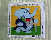 20% off- needlepoint tapestry, Babar, France, cross stitch