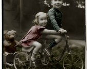 A Ride With Teddy, Vintage Photo, Digital Download