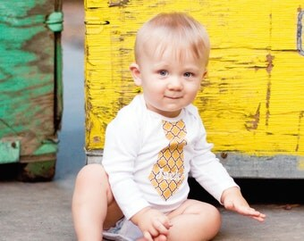 Back to School, Baby Boy Yellow Tie Bodysuit.  Any Embroidered or Monogram Personalized Tie Bodysuit.  Fall Wedding, Beach Photo Prop.