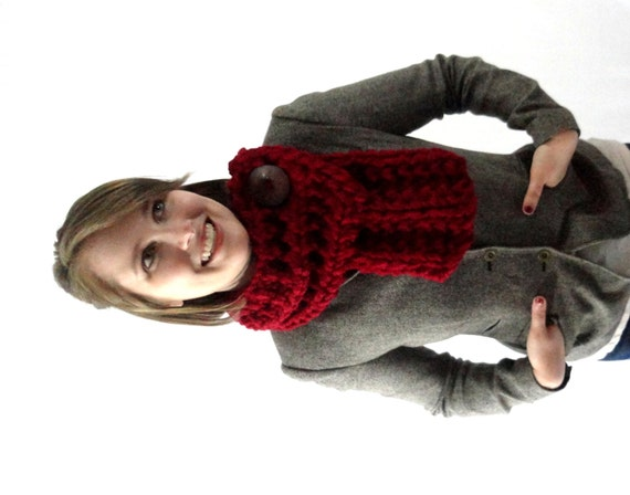 Cranberry Red Chunky Knit Cowl Scarf with Large Brown Button
