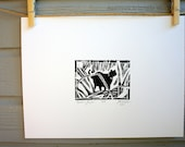 Black cat linocut print  Anubis Jungle