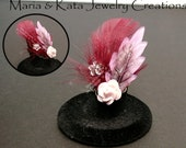 Ooak Style rings- with resin or felt flowers w/ feathers