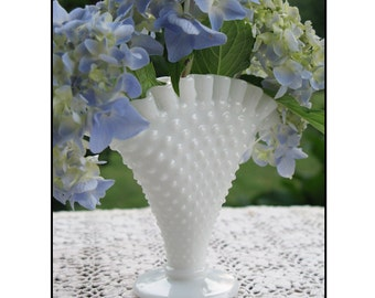 Vintage Milk Glass Fan by Fenton