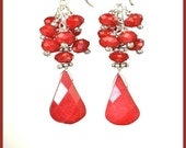 Shiny Red Faceted Teardrop Coral, Sterling Silver Earrings, Perfect for Holidays