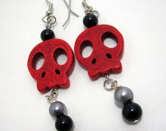 Red Skull Dangle Earrings with Black and Grey Beads