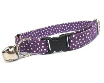 Purple and White Pin Dot Cat Collar