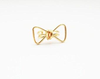 Ear Cuff Gold Bow Geometric Ear Wrap Earcuff