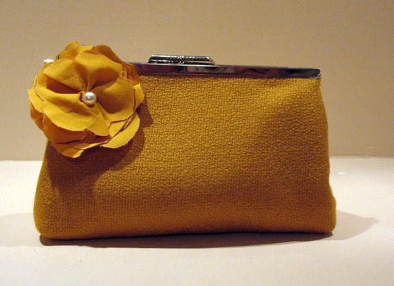 Mustard Yellow Wool Clutch 8 dark yellow flower clip