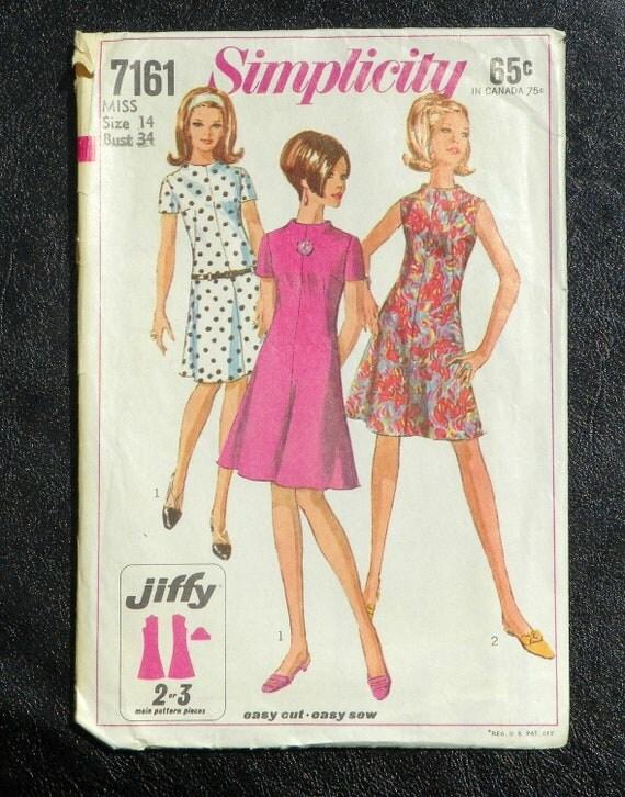 Vintage A-Line Dress Pattern Misses size 14 Simplicity 7161