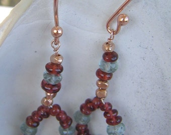 Rose Gold, Moss Aquamarine, Garnet, and Smoky Quartz Dangle Hoop Earrings- Gift Under 40