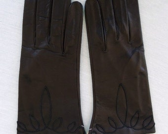 Vintage 60s Black Leather Gloves Decorative Cord Trim  Size 6-7  New with Tags Washable