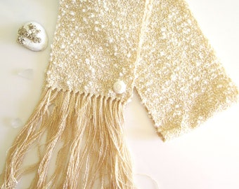 White Woven Scarf, Handwoven Scarf, Gift for Mom, Cream Scarf, Textile Woven, Boucle Scarf