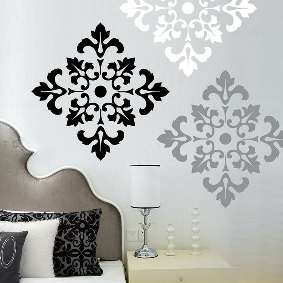 Damask pattern wall decal stickers large wall stickers set for Black white damask wallpaper mural