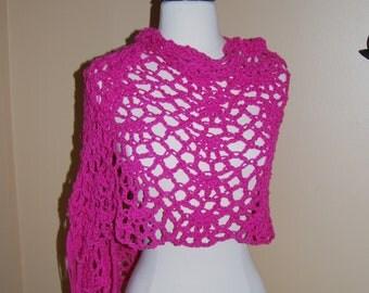 Hot Pink Cotton Crochet Shawl