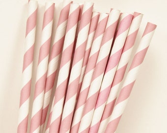 Paper Straws, Blush PInk Paper Drinking Straws, 25 PASTEL Pink Striped Straws with DIY flags, Bridal Shower, Pink Parites, Wedding, Party