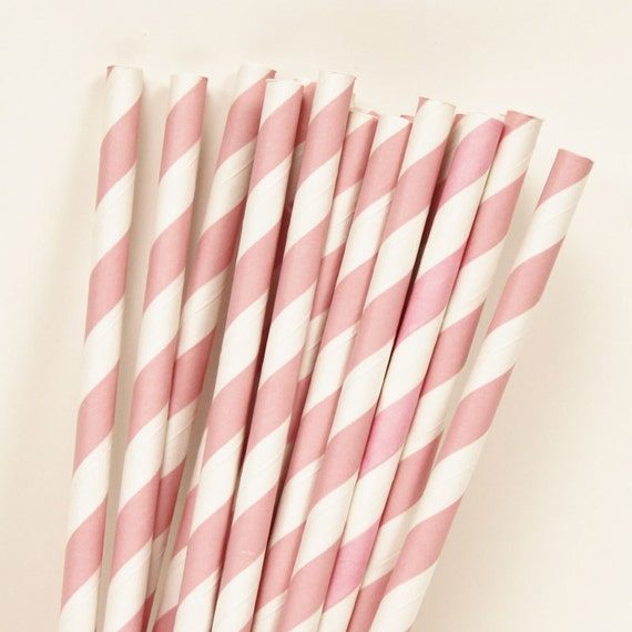 Pink Striped Paper Straws Paper Straws Blush Pink Paper