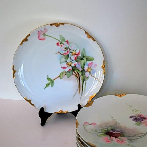 Vintage Plate Limoges H&Co France Floral Pink Green