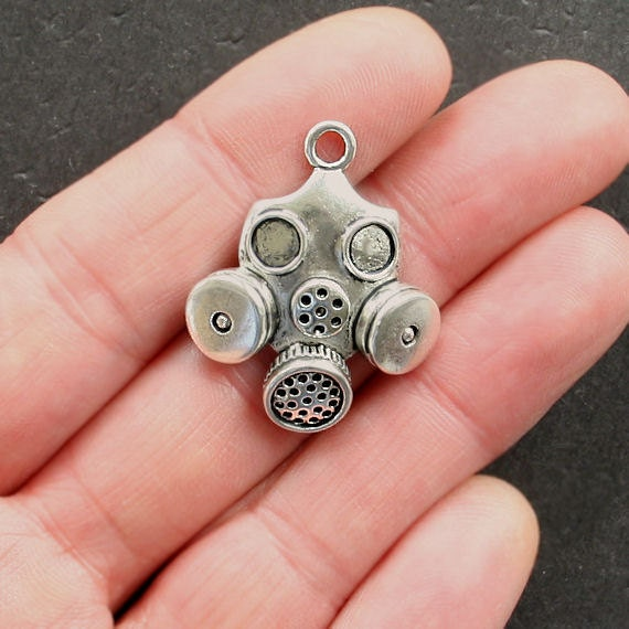 2 Gas Mask Charms Antique Silver Tone Sc1526 From