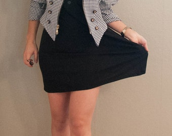 black and white houndstooth jacket, small, size 3-4, unique