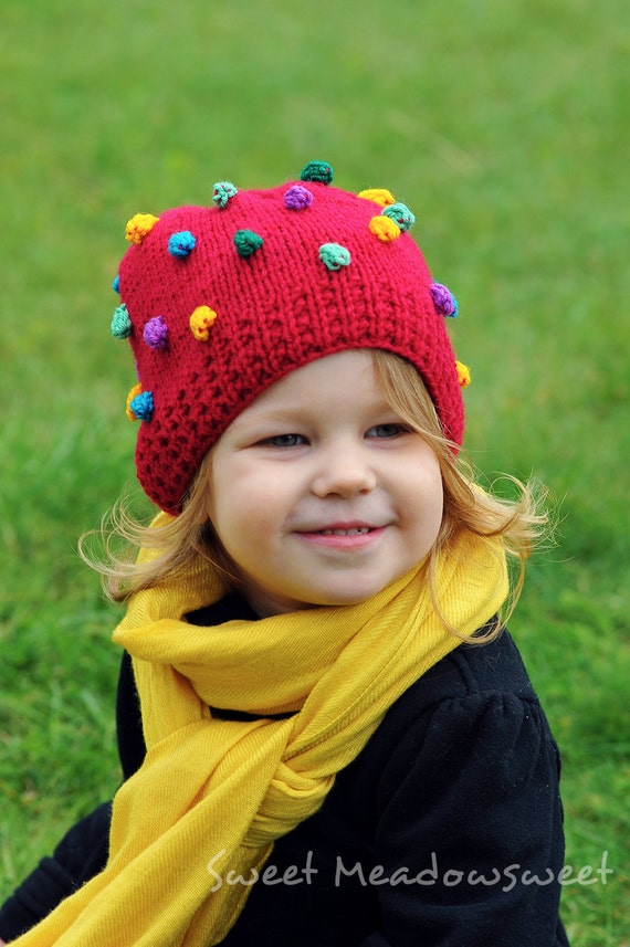 Knitted Girls / Boys Hat, Red wool Beanie with Pink Yellow Purple Blue Mint bobbles fall, winter, Christmas - toddler, baby, made to order