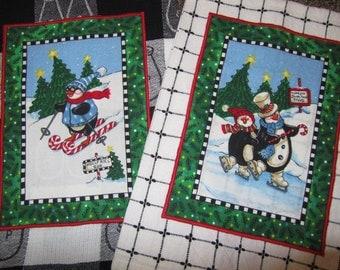 DAISY KINGDOM Tuxedo Junction PENGUINS Set of 2 Black and White Plaid Kitchen Towels