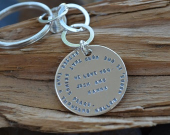 Key Chain - Sterling Silver Disc -Personalized - Husband, Wife, Mom, Dad, Grandma, Grandpa, Aunt , Uncle, Best Friend, Sister , Brother Gift