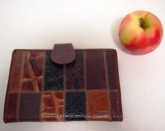 Vintage 1980s brown patchwork leather wallet