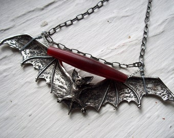 Chained Pewter Bat and Carved Horn Necklace