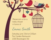 Birds and Bees Baby Shower or Gender Reveal Invitation - Printable Digital Invitation - Custom Personalized - PinkPueblo
