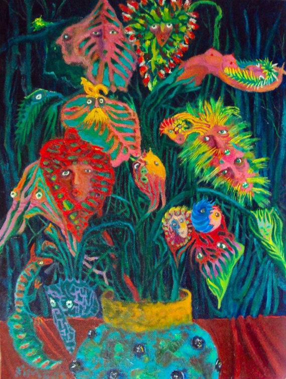GMO's /  Surrealism / Plants / 12 x 16 Oil Painting
