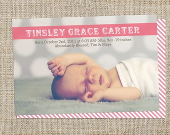 Candy Stripe Baby Announcement Design