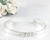 Personalized Cuff Bracelet sterling silver engraved - 1/4 inch width - 16 gauge