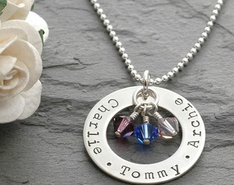 Personalized Mommy Necklace Washer Style Sterling Silver Family Name Open Circle with Birthstones