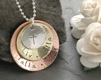 Mixed Metal Personalized Necklace - Rustic - Triple Stack - Sterling Silver - Brass - Copper - Mother's Necklace