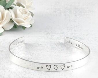 Personalized Cuff Bracelet sterling silver engraved - 1/4 inch width - 16 gauge