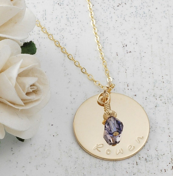 """Personalized  Gold charm necklace - Hand Stamped - with birthstone - one discs - 3/4"""""""