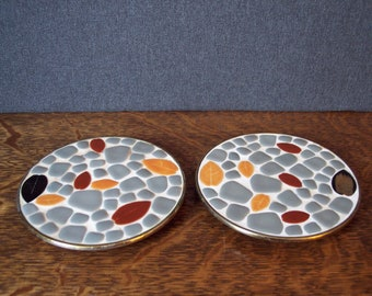 Mid-century Modern Mosaic Pair of Trivets or Plates