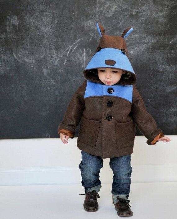Boys Teddy Bear Coat in Blue