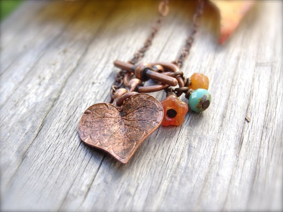 Copper Autumn necklace with Copper Leaf Charm and Czech Glass Accents