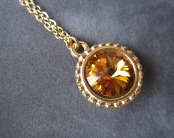 Gold November Birthstone Necklace, Swarovski Crystal Birthstone Jewelry, Pendant Topaz Necklace